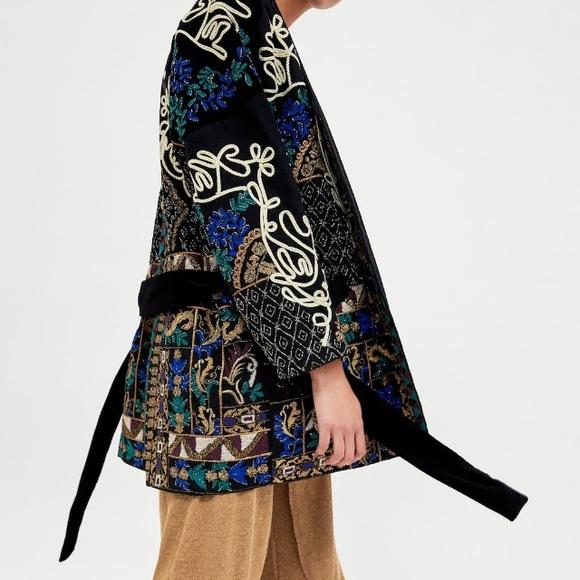 43dcf5c73 Zara Jackets & Coats | Velvet Embroidered Kimono Coat Nwt | Poshmark